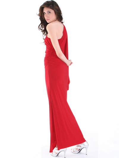 8714 One Shoulder Evening Dress with Sash - Red, Back View Medium