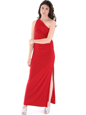 8714 One Shoulder Evening Dress with Sash, Red