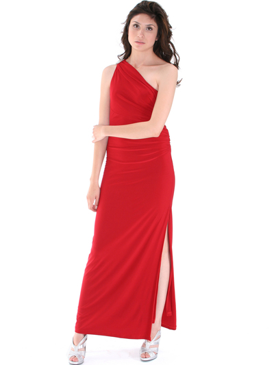 8714 One Shoulder Evening Dress with Sash - Red, Front View Medium