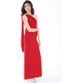8714 One Shoulder Evening Dress with Sash - Red, Alt View Thumbnail