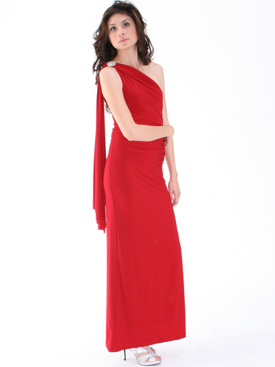 8714 One Shoulder Evening Dress with Sash - Red, Alt View Medium