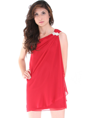 8715 One Shoulder Cocktail Dress, Red