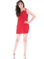 Red One Shoulder Cocktail Dress - Alt Image