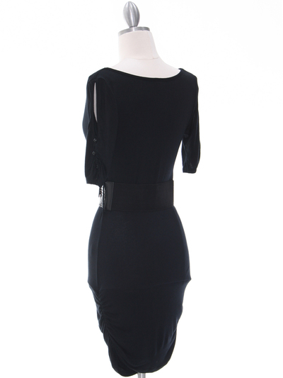 87218 Black Knit Dress - Black, Back View Medium