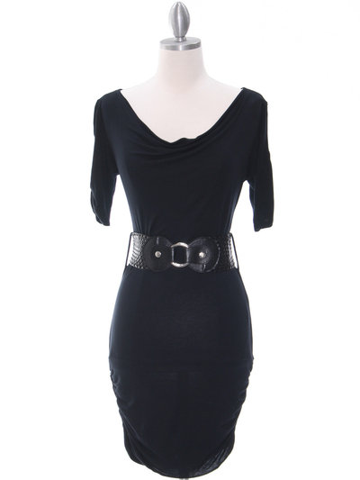 87218 Black Knit Dress - Black, Front View Medium