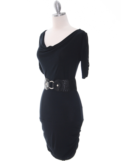 87218 Black Knit Dress - Black, Alt View Medium
