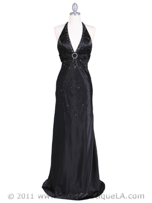 9002 Black Halter Evening Gown, Black