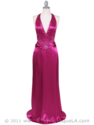 9003 Raspberry Halter Evening Gown, Raspberry