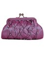 FN90051 Lilac Taffeta Pleated Rhinestone Evening Clutch - Lilac, Front View Thumbnail