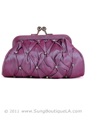Lilac Taffeta Pleated Rhinestone Evening Clutch - Front Image
