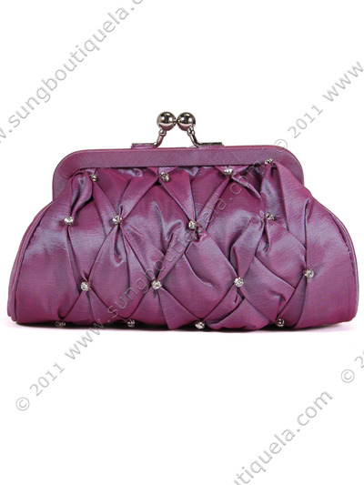 FN90051 Lilac Taffeta Pleated Rhinestone Evening Clutch - Lilac, Front View Medium