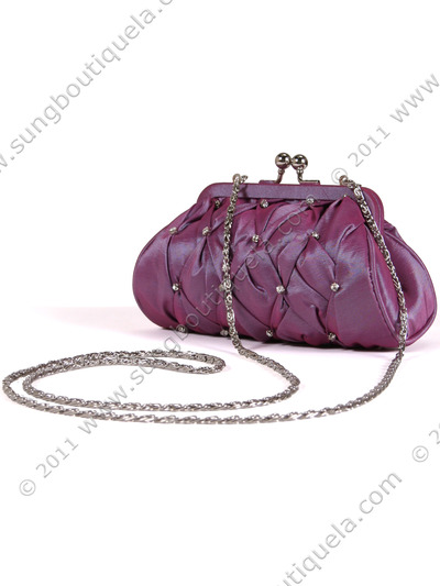 FN90051 Lilac Taffeta Pleated Rhinestone Evening Clutch - Lilac, Alt View Medium