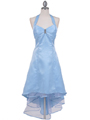 9051 Baby Blue Halter Hi-Low Satin Evening Dress - Baby Blue, Front View Thumbnail