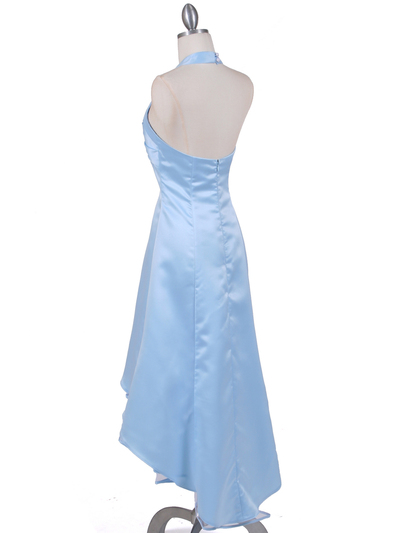 9051 Baby Blue Halter Hi-Low Satin Evening Dress - Baby Blue, Back View Medium