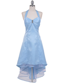 Baby Blue Halter Hi-Low Satin Evening Dress