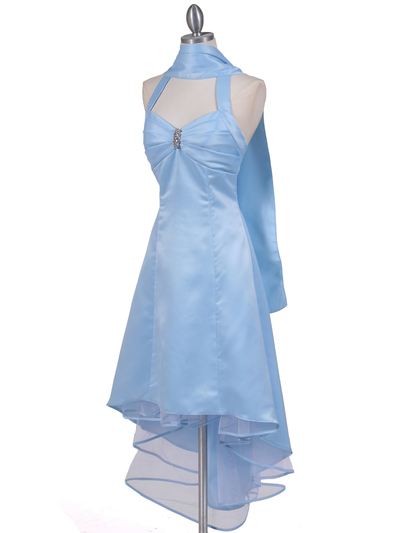 9051 Baby Blue Halter Hi-Low Satin Evening Dress - Baby Blue, Alt View Medium