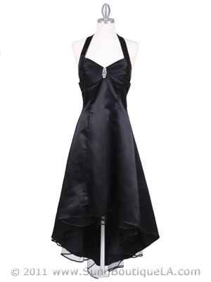 9051 Black Halter Hi-Low Satin Evening Dress, Black