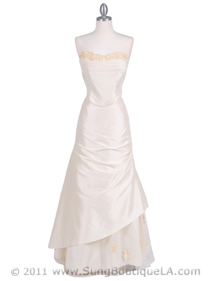 9061 Ivory 2-piece Evening Gown, Ivory