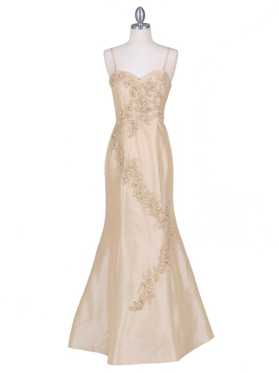 9071 Gold Evening Gown - Gold, Front View Medium