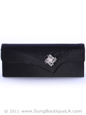 91001 Black Evening Bag with Rhinestone Decor, Black