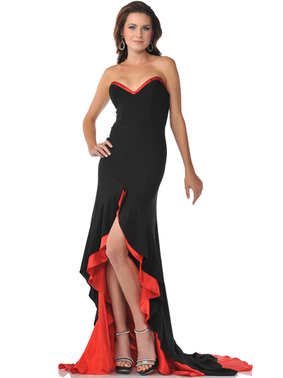 9193 Black Red Strapless Sweetheart Evening Dress with High Low Hem - Black Red, Front View Medium
