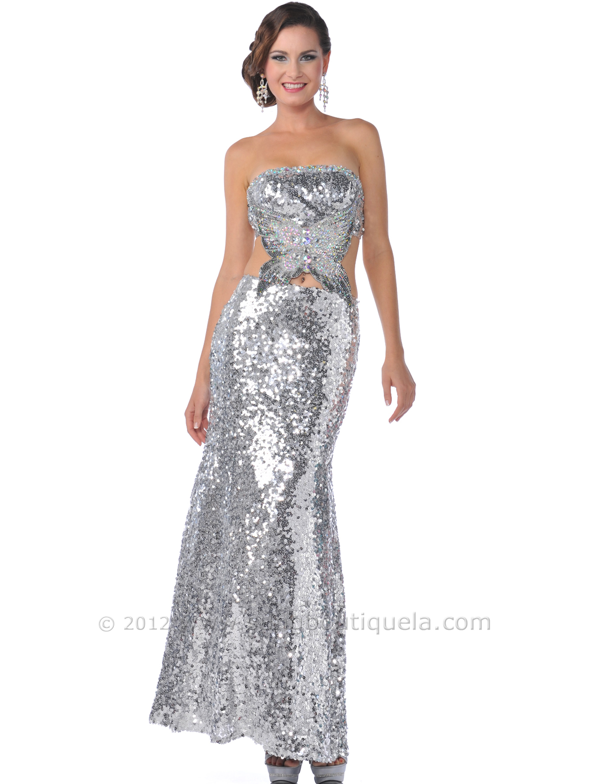 7b996c9fc3 9195 Silver Strapless All Sequin Side Cut-Out Prom Dress - Silver