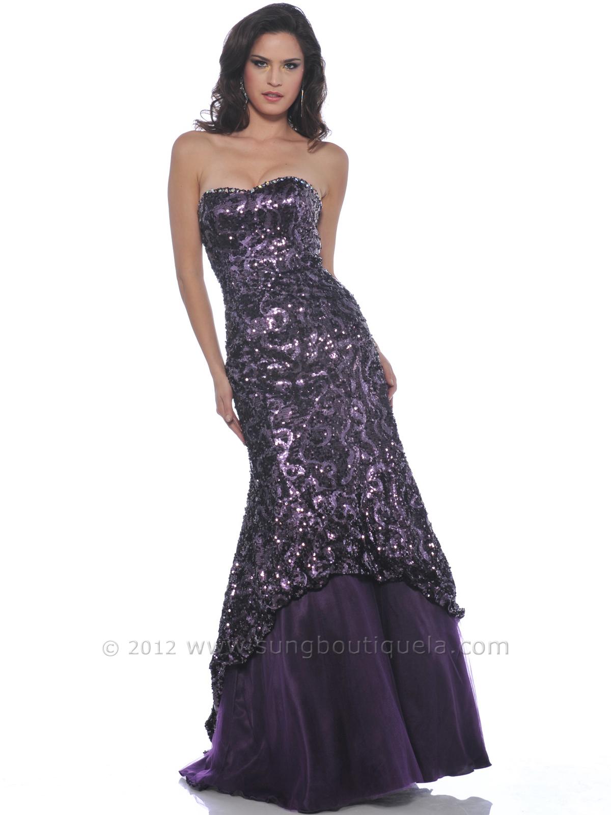 purple strapless mermaid prom dress