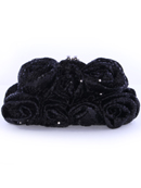 Black Sequin Floral Evening Bag