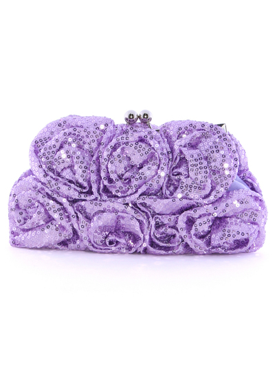 92000 Light Purple Sequin Floral Evening Bag - Light Purple, Front View Medium