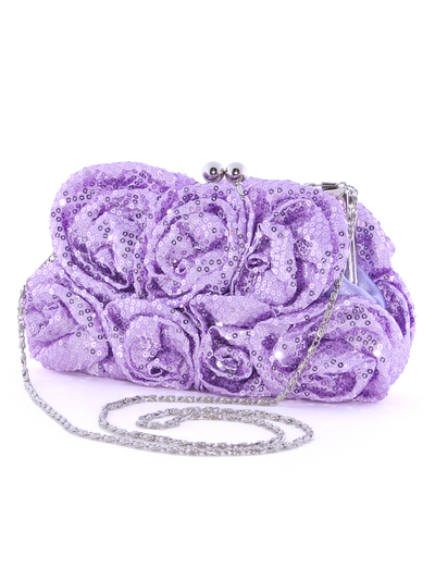 92000 Light Purple Sequin Floral Evening Bag - Light Purple, Alt View Medium