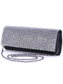 92007 Black Satin Evening Bag with Rhinestone - Black, Alt View Thumbnail