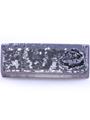 92105 Pewter Sequin Evening Bag - Pewter, Front View Thumbnail
