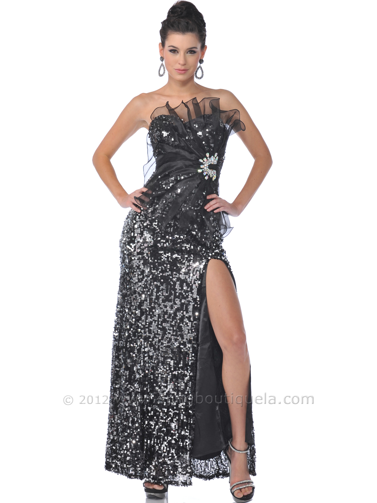Black Silver Strapless Sequin Evening Dress