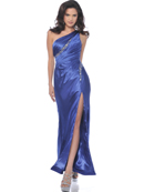 Light Purple One Shoulder Charmeuse Evening Dress with Slit