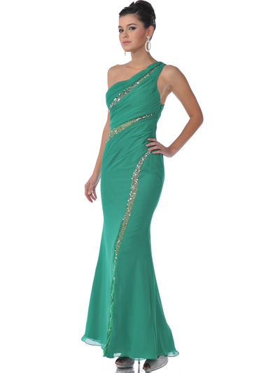 9508 Single Shoulder Evening Dress - Green, Front View Medium
