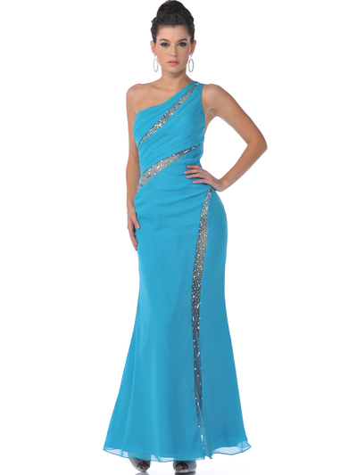 9508 Single Shoulder Evening Dress - Turquoise, Front View Medium