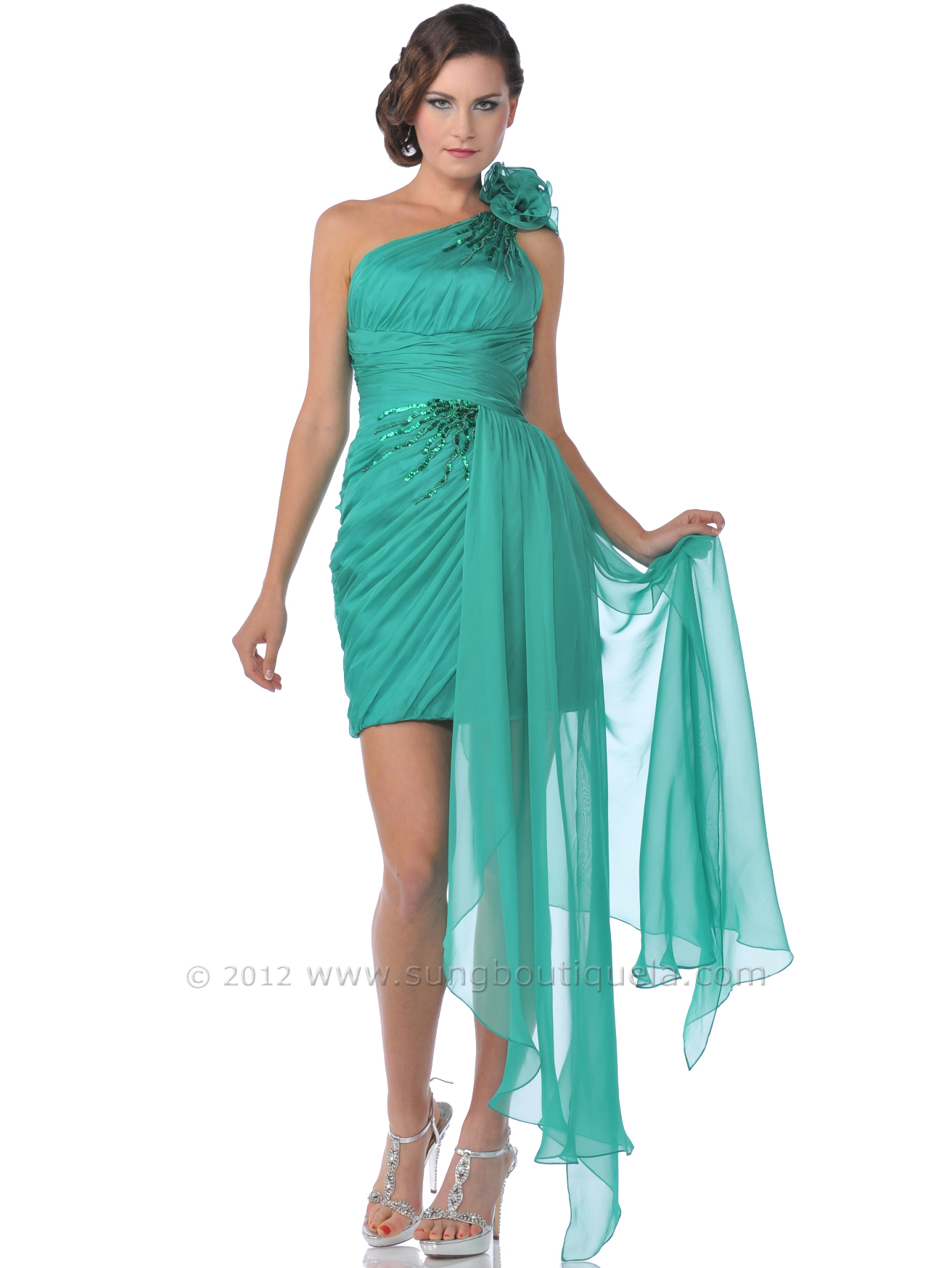 One Shoulder Rosette Chiffon Cocktail Dress with Sash | Sung ...