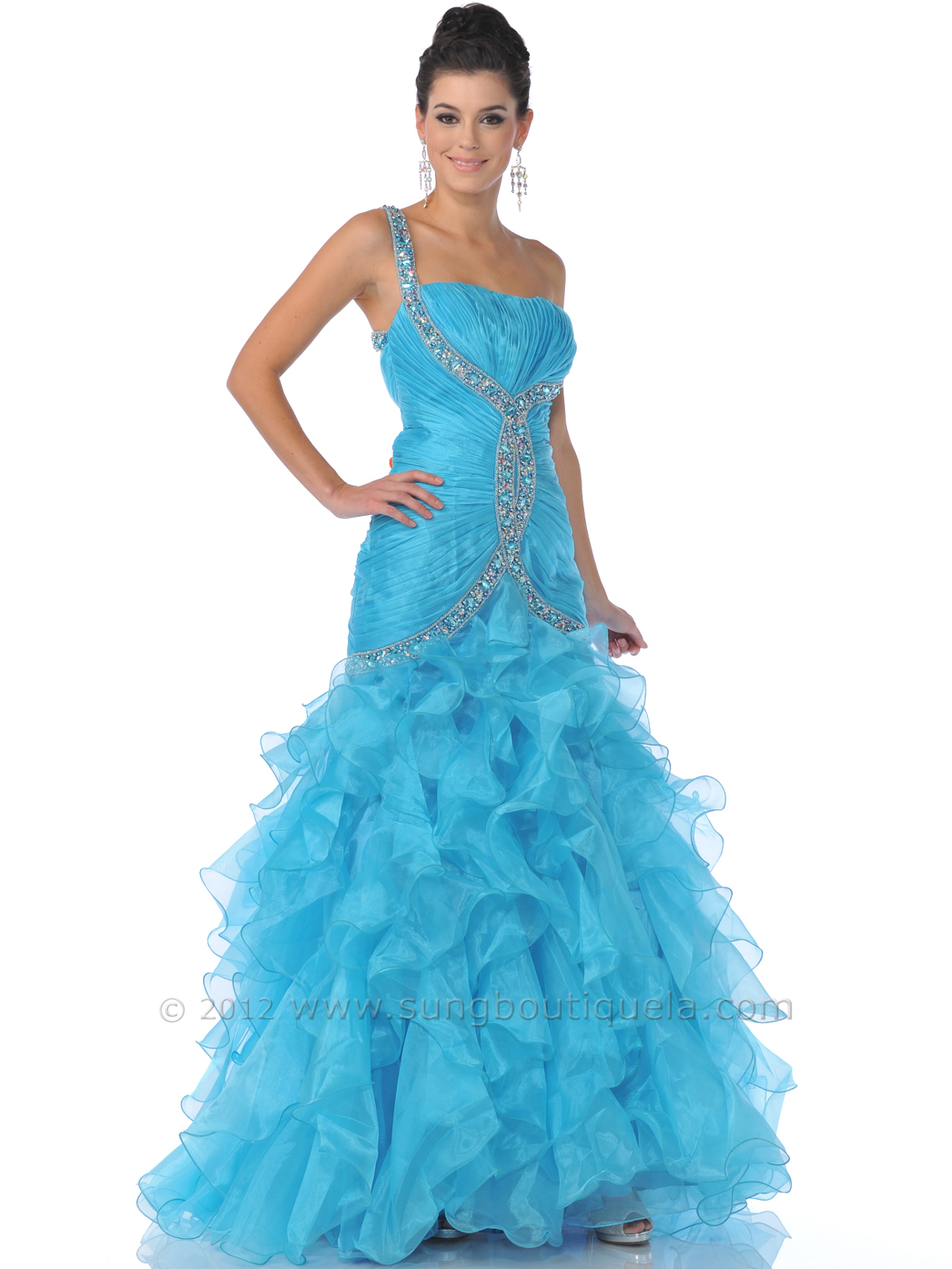 Turquoise One Shoulder Embellished Strap Prom Dress Sung