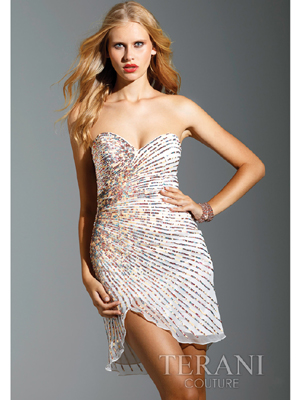 95129Y Sequin Embellished Short Prom Dress By Terani, Ivory