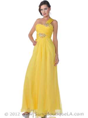 9515 Yellow One Shoulder Wide Strap Chiffon Evening Dress, Yellow
