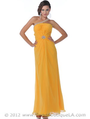 9517 Yellow One Shoulder Chiffon Prom Dress, Yellow