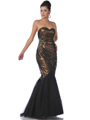 9522 Gold Black Strapless Lace Overlay Sequin Mermaid Evening Dress - Gold Black, Front View Thumbnail