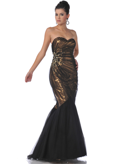 9522 Gold Black Strapless Lace Overlay Sequin Mermaid Evening Dress - Gold Black, Front View Medium
