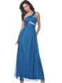 Teal One Shoulder Chiffon Evening Dress with Sequin - Front Image