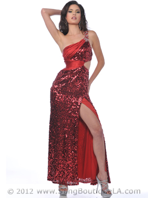 Red One Shoulder Sequin Cutout Evening Dress with Slit - Front Image