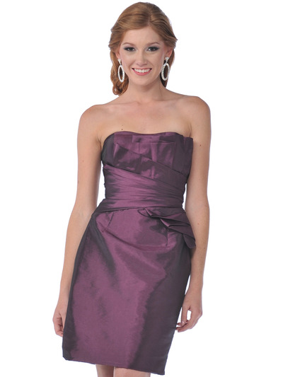 9531 Strapless Taffeta Cocktail Dress - Plum, Front View Medium