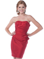9531 Strapless Taffeta Cocktail Dress - Red, Front View Thumbnail