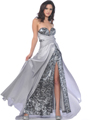 Silver Strapless Charmeuse Overlay Sequin Evening Dress - Front Image