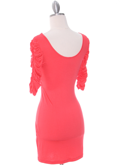 9764 Coral Jersey Party Dress - Coral, Back View Medium