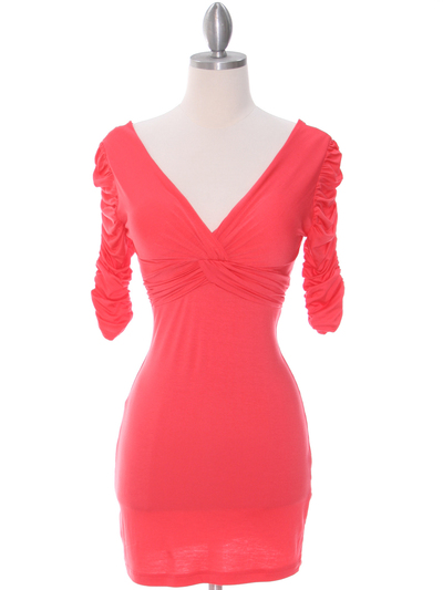9764 Coral Jersey Party Dress - Coral, Front View Medium